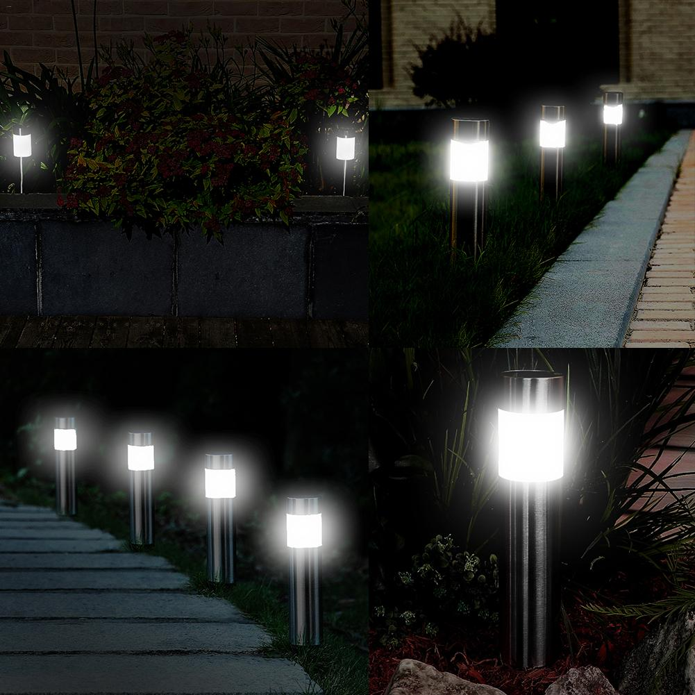 Image 4 - Stainless Steel Led Solar Lawn Lamp Outdoor Garden Path Lawn Light Solar Bollard Light Led Solar Stick Lights White Light-in LED Lawn Lamps from Lights & Lighting