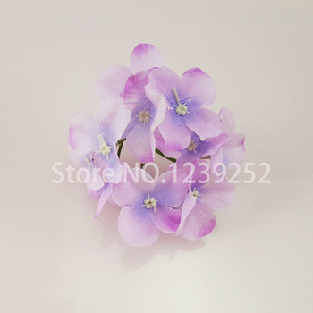 NEW 50 Pcs/Lot  Artificial Hydrangea Silk Flowers Heads Decoration for Wedding Party Banquet Home Decoration Fake Flowers 5