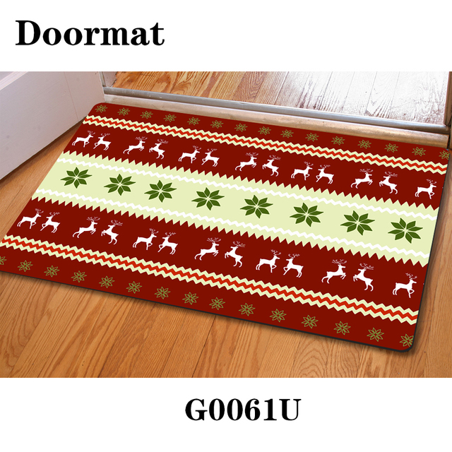 Christmas Tree Design Winter Area Rug Door Floor Mat Reindeer Seasons Greetings Gold Red Green Stylish
