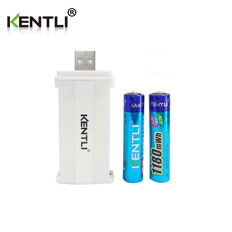 KENTLI 2 pz senza effetto memoria 1.5 v 1180mWh AAA batterie ricaricabili li-ion batteria al litio + 2 canali di litio caricabatterie