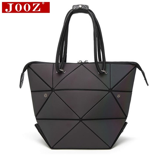Jooz Geometric Fold Over Luminous Handbags Diamond Lattice Variety Modeling Female Shoulder Bag Pvc Laser Lady