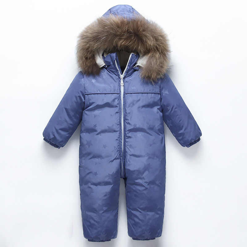 a0612a176 -30 degree new Baby snowsuit snow wear winter warm clothing fleece jumpsuit  90% White duck Down jacket coat for girl boy clothes