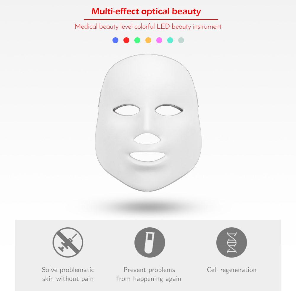 Image 2 - LED Facial Mask Therapy 7 Colors Face Mask Machine Photon Therapy Light Skin Care Wrinkle Acne Removal Face Beauty for Home use-in Face Skin Care Tools from Beauty & Health