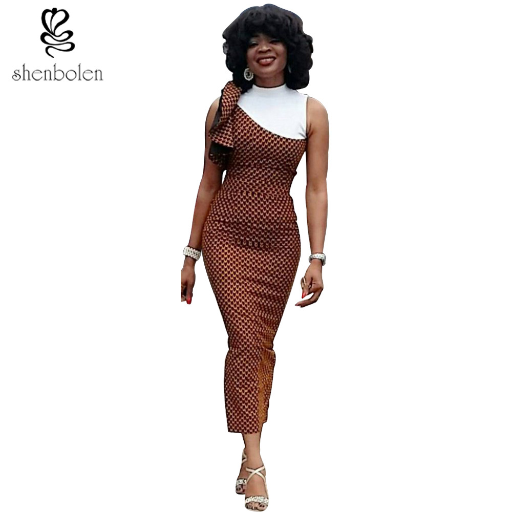 Free shipping African women dresses ankara style pretty batik dress 2017 New fashion Africa wax printing lady Elegant dress