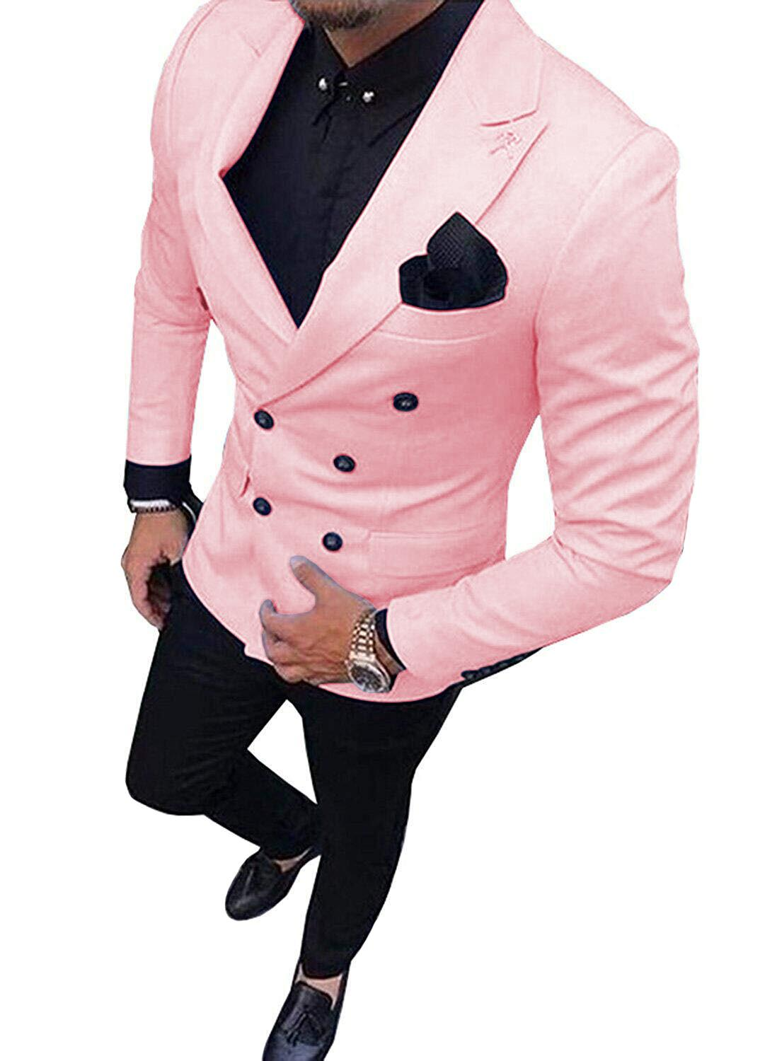 2 Pieces Mens Suits Slim Fit Business Double-breasted Suits Groom Tweed Wool Pink Tuxedos For Evening Wedding (Blazer+Pants)