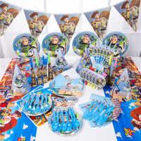 Cartoon Spielzeug Geschichte Einweg Papier Servietten Banner Tisch Tuch Strohhalme Tasse Platten Baby Dusche Geburtstag Party Dekoration Lieferungen