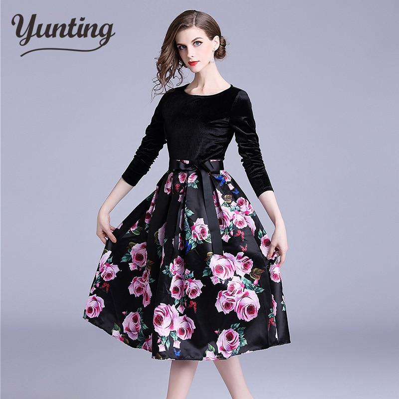 Женское платье с цветочным принтом, повседневное облегающее платье с длинным рукавом и высокой талией, 2018