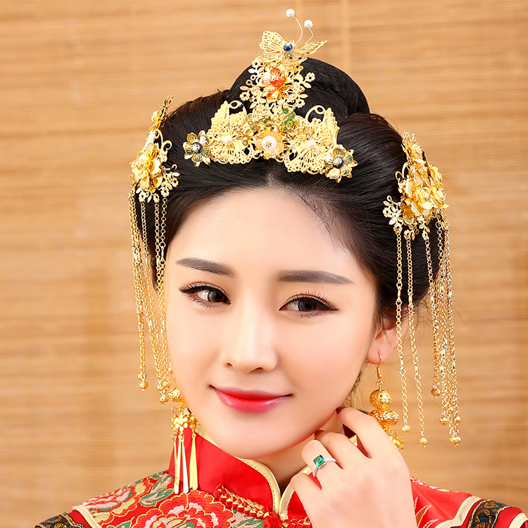Dou Kou Traditional Chinese Wedding Bride Hair Tiaras for Xiuhefu Hair Accessory Set for Costume