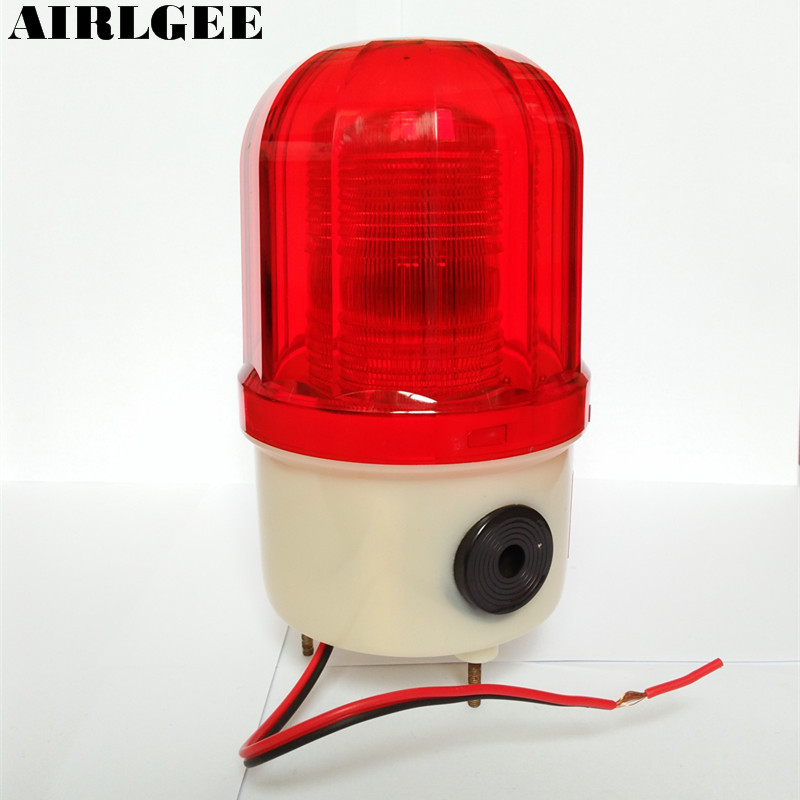 Industrial 105-110dB Buzzer Siren DC 12V Red LED Warning Light Signal Tower Lamp