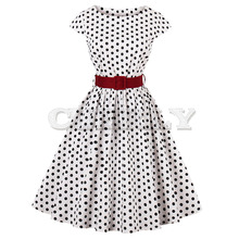 CUERLY Plus Size Women Vintage Dress O Neck Cap Sleeves Belts Polka Dot Print Retro Party Summer 60s Feminino