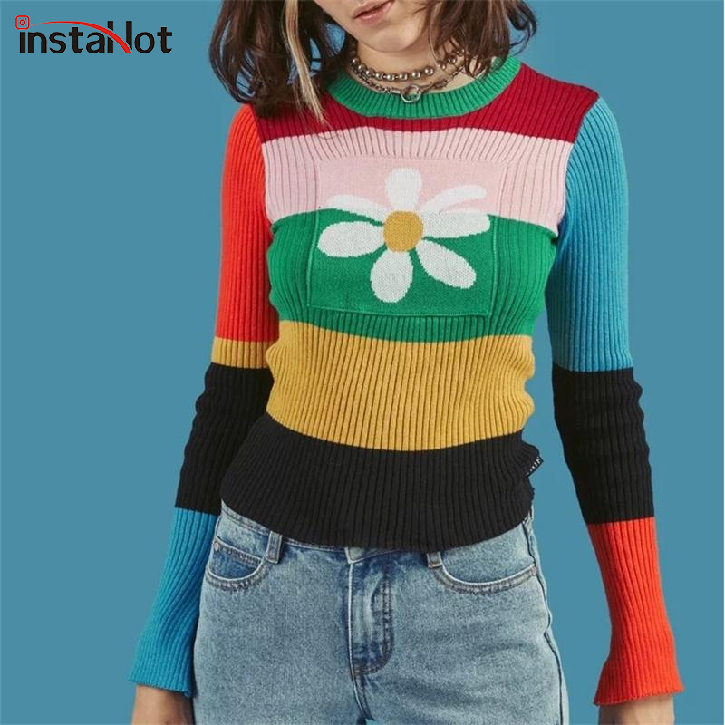 InstaHot Striped Rain Bow Knitted Sweater Women 2018 Autumn Flower O Neck Elastic Stretchy Sweater Cotton Tops Multicolor Winter