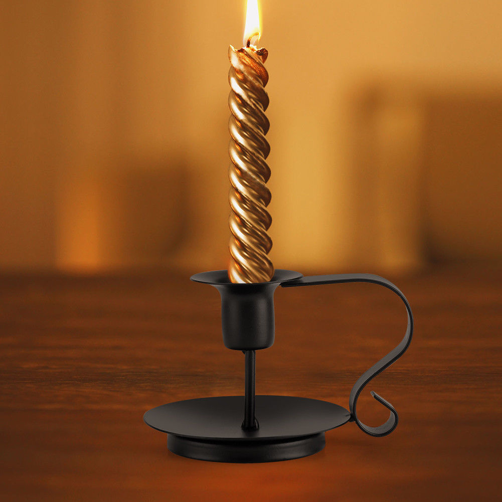 1x Retro Iron Taper Candle Holder Candlestick Stand Candlelight Dinner 2019 Hot