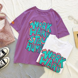 Summer korean casual loose purple Tshirt Women Letter T-shirts Printing Funny Tee Shirt For Female Top Clothes Short Sleeve Tees 6