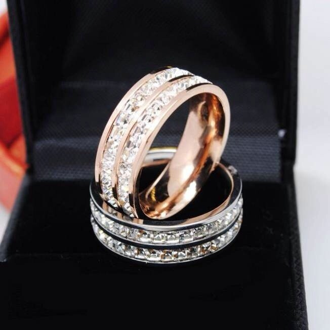 High Quality Luxury Wide 8mm Double Row Channel Cz Wedding Rings For Women Men Rose Gold Band 5 10 In From Jewelry Accessories On