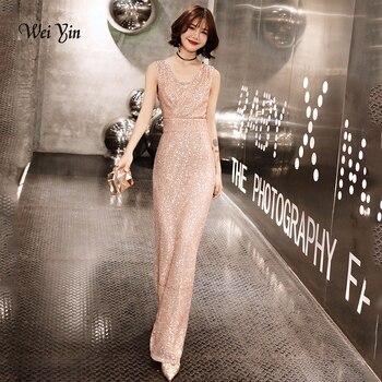 a849fbda4b8d5dc Weiyin роскошное длинное вечернее платье с пайетками с двойным v-образным  вырезом недорогие вечерние платья без рукавов Выпускные вечерние пл.