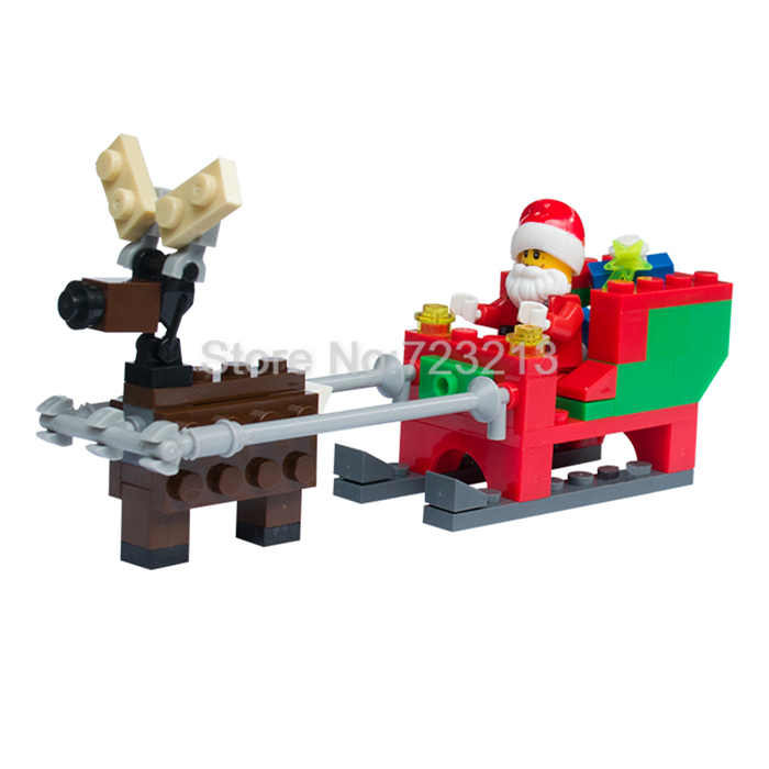 Christmas Santa Claus Figure Elk And Sled Xmas Scene Fireplace Model Building Blocks Set Kits Toys Gift For Children single sale christmas santa claus figure elk and sled xmas legoingly model building blocks set model kits toys gift for children