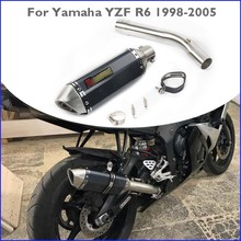 Slip-on YZF R6 Motorcycle Exhaust Pipe Muffler Escape Can Tip & Connect Link Tube Middle Mid Pipe for Yamaha YZF R6 1998-2005 fz1 motorcycle carbon fiber exhaust pipe middle mid link connect tube slip on whole set pipe for yamaha fz1