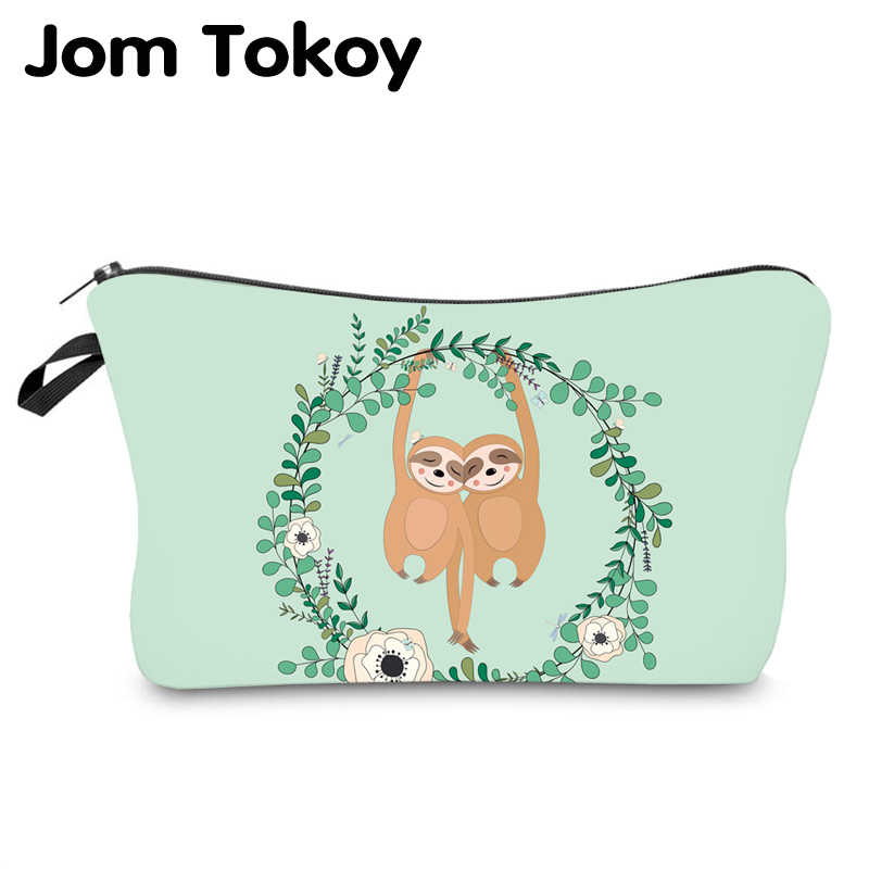 Jom Tokoy Water Resistant Makeup Bag Printing Sloth Cosmetic Bag Lovely Cosmetic Organizer Bag Women Multifunction Beauty Bag950