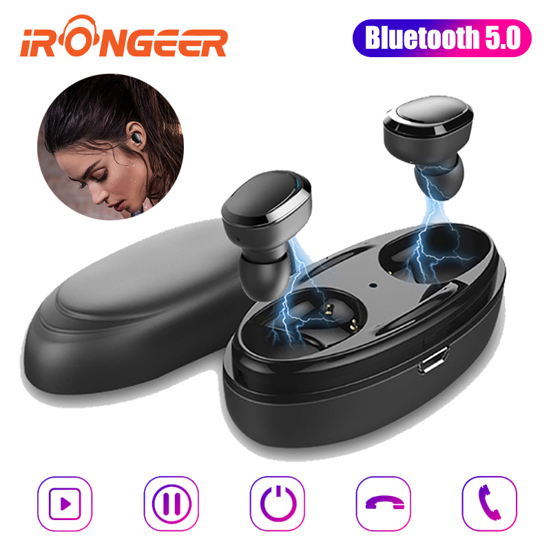 TWS business earbuds Bluetooth 5.0 earphones wireless headsets with microphone handsfree calls noise canceling for video games