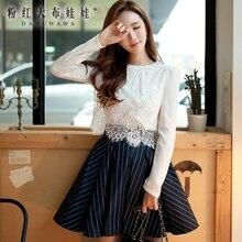 dabuwawa 2016 new spring autumn long sleeved lace blouse slim white shirt female white pink doll