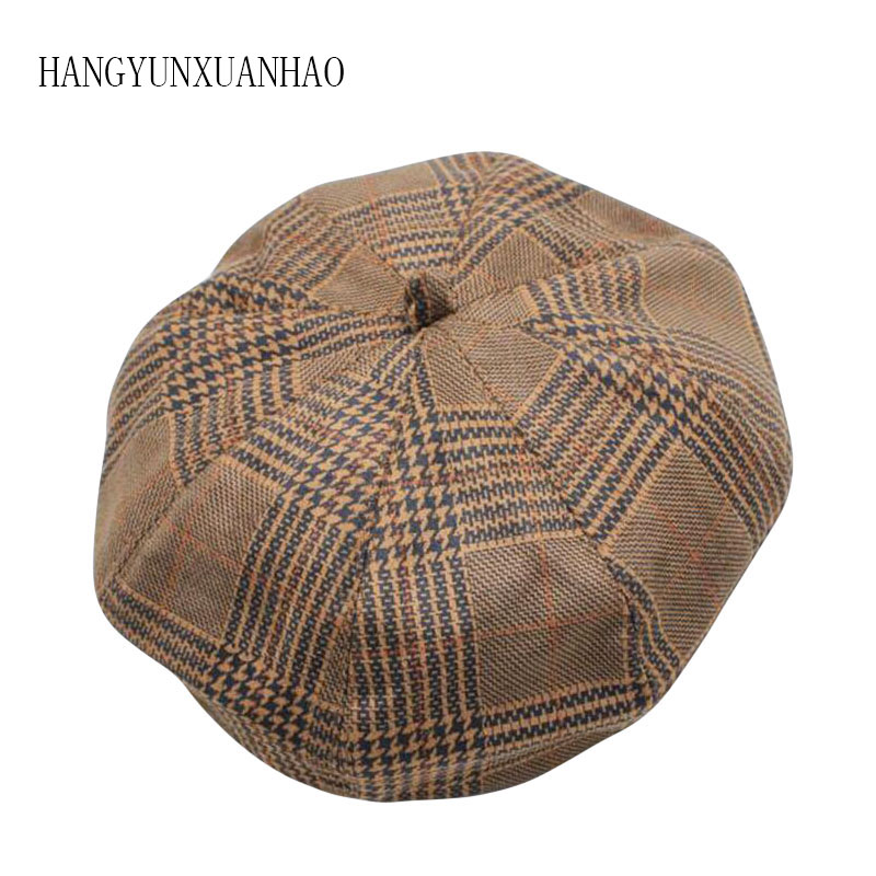 HANGYUNXUANHAO Autumn Winter Beret Women Pumpkin Berets Ladies Plaid Cotton Adult Octagonal Hat Artist Headwear Cap