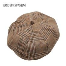купить HANGYUNXUANHAO Autumn Winter Beret Women Pumpkin Berets Ladies Plaid Cotton Adult Octagonal Hat Artist Headwear Cap по цене 387.31 рублей