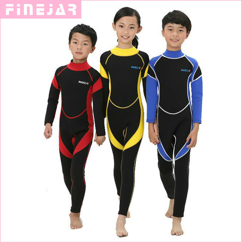 2.5MM Neoprene Wetsuits Kids Swimwears Diving Suits Long Sleeves Boys Girls Surfing Children Rash Guards Snorkel One Pieces h2