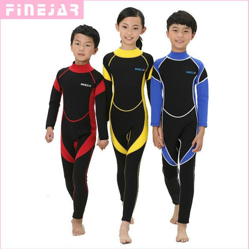 2.5MM Neoprene Wetsuits Kids Swimwears Diving Suits Long Sleeves Boys Girls Surfing Children Rash Guards Snorkel One Pieces H1