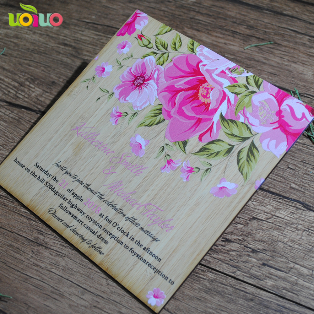 Us 20 0 Latest Wedding Favor Bulk Elegant Bamboo Wood Invitation Card And Engagement In Cards Invitations From Home Garden On