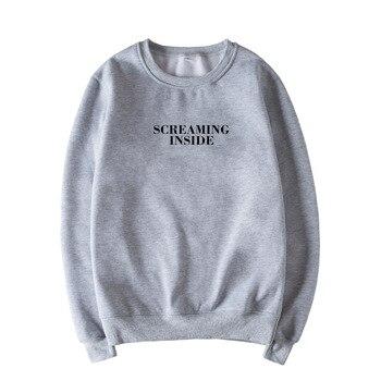 Skuggnas Screaming Inside Graphic Print Unisex Sweatshirt Instagram Jumper Long Sleeve Fashion Casual Tops Sweatshirt Drop ship ornate print long sleeve casual sweatshirt