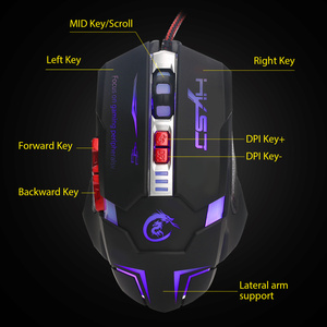 Image 3 - HXSJ H600 Professional USB Wired Quick Moving LED Light Gaming Mouse Game Peripherals with 7 Buttons Coding Mice
