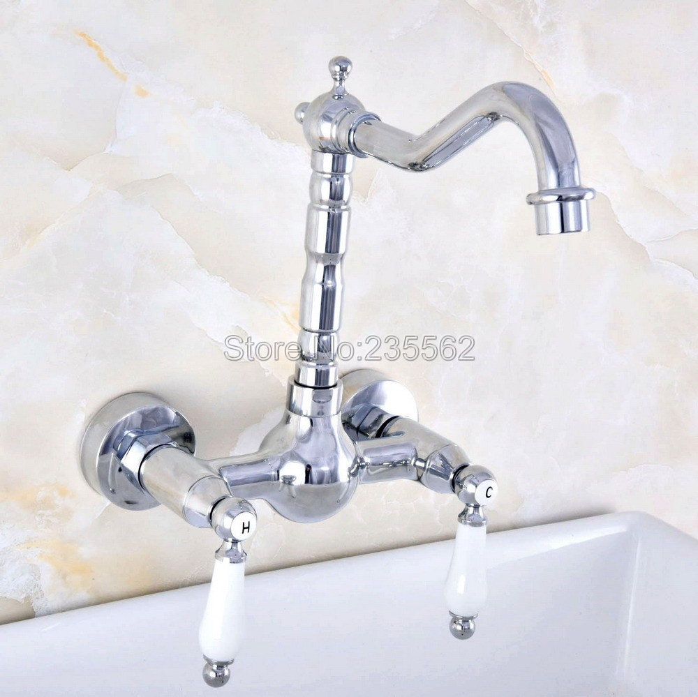 Chrome Wall Mounted Bathroom Basin Faucet / 360 Swivel Spout Kitchen Sink Mixer Taps   lnf561Chrome Wall Mounted Bathroom Basin Faucet / 360 Swivel Spout Kitchen Sink Mixer Taps   lnf561
