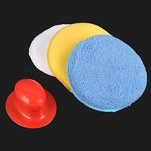 4Pcs/Set Car Wax Wash Polish Pad Sponge Cleaning Foam Kit Terry Cloth Microfiber Applicator Pads W/ Gripper Handle Car-Styling