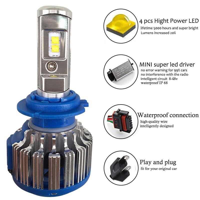 Meetrock H4 LED H7 H8 H11 H1 70w 7000lm ավտոմեքենայի - Ավտոմեքենայի լույսեր - Լուսանկար 3