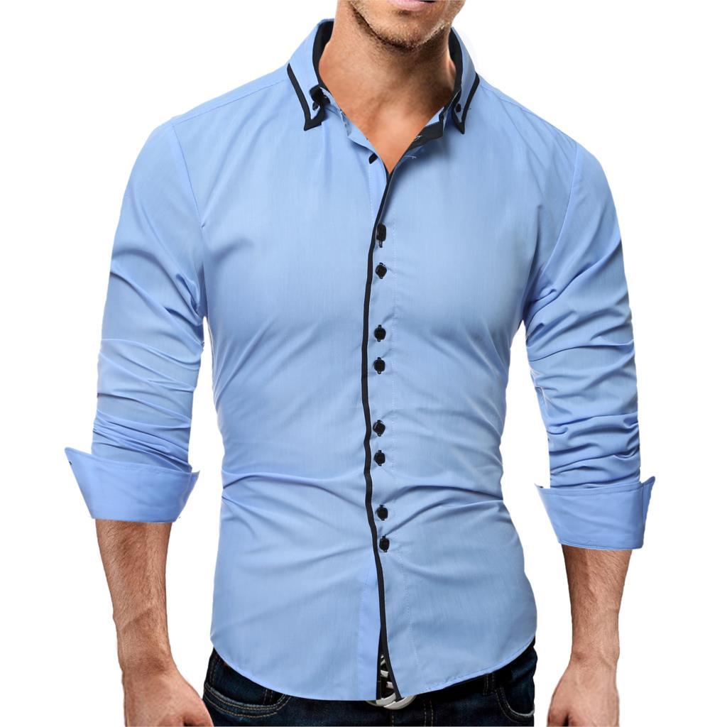Brand 17 Fashion Male Shirt Long-Sleeves Tops Casual Solid Multi-Button Mens Dress Shirts Slim Men Shirt 3XL ASDF 3