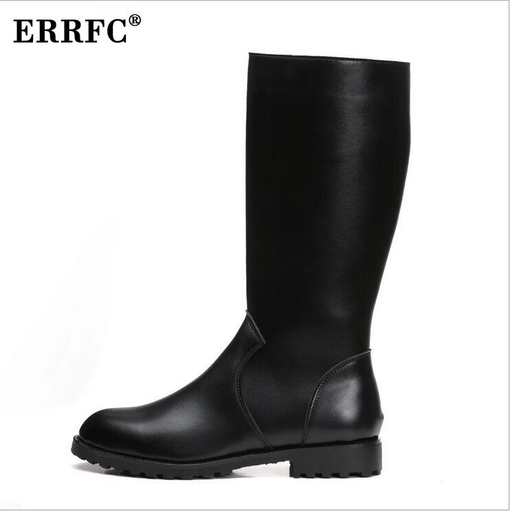 ERRFC Winter Neue Schwarz Lange Reitstiefel Für Männer Warm Kurze Plüsch Zip Reiten Schuhe 33 cm Mann Knie Motorrad boot 37 46 auf   1