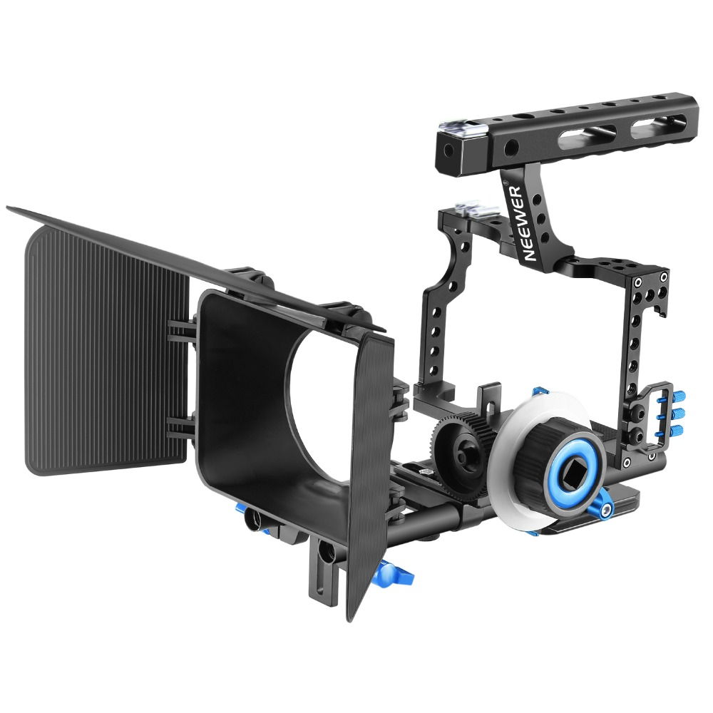 Neewer Camera Video Cage with 15mm Rail Rods Matte Box,Follow Focus(Blue+Black)/(Red+Black) yelangu aluminum alloy camera video cage kit film system with video cage top handle grip matte box follow focus for dslr
