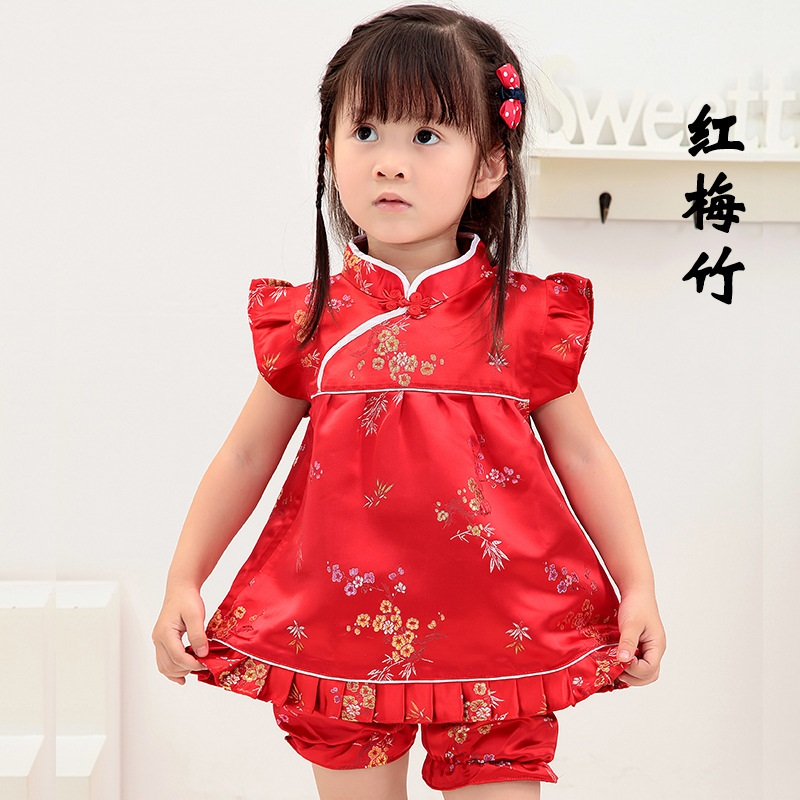 2018 New Summer Floral baby girls clothes sets outfits infant suits New Year Chinese tops dresses short pants Qipao cheongsam ...
