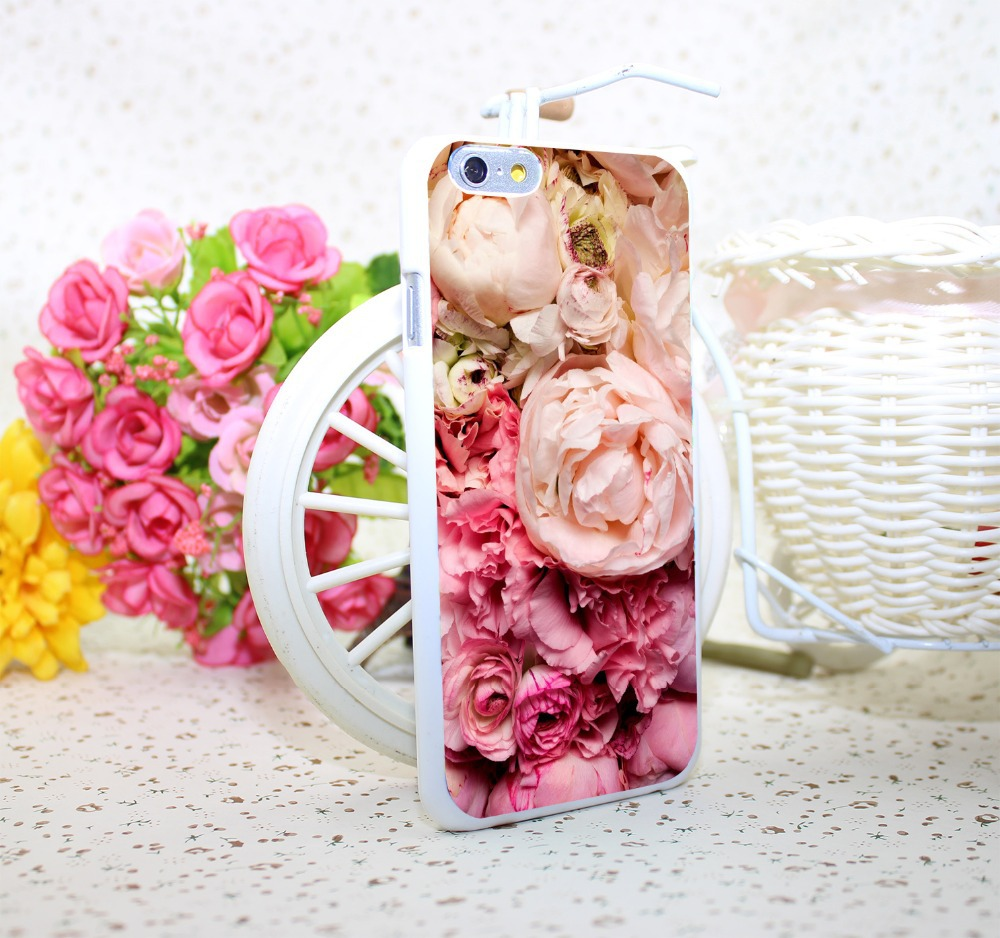 peony White Hard Case Cover for iPhone 6 6s plus 5 5s 4 s White Skin Print Series