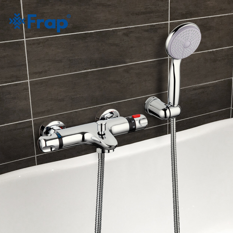 Frap 1 Set Thermostatic Faucet Shower Bath Faucet Cold and Hot Water Mixer Short Nose Double Handle F3051 wall mounted two handle auto thermostatic control shower mixer thermostatic faucet shower taps chrome finish