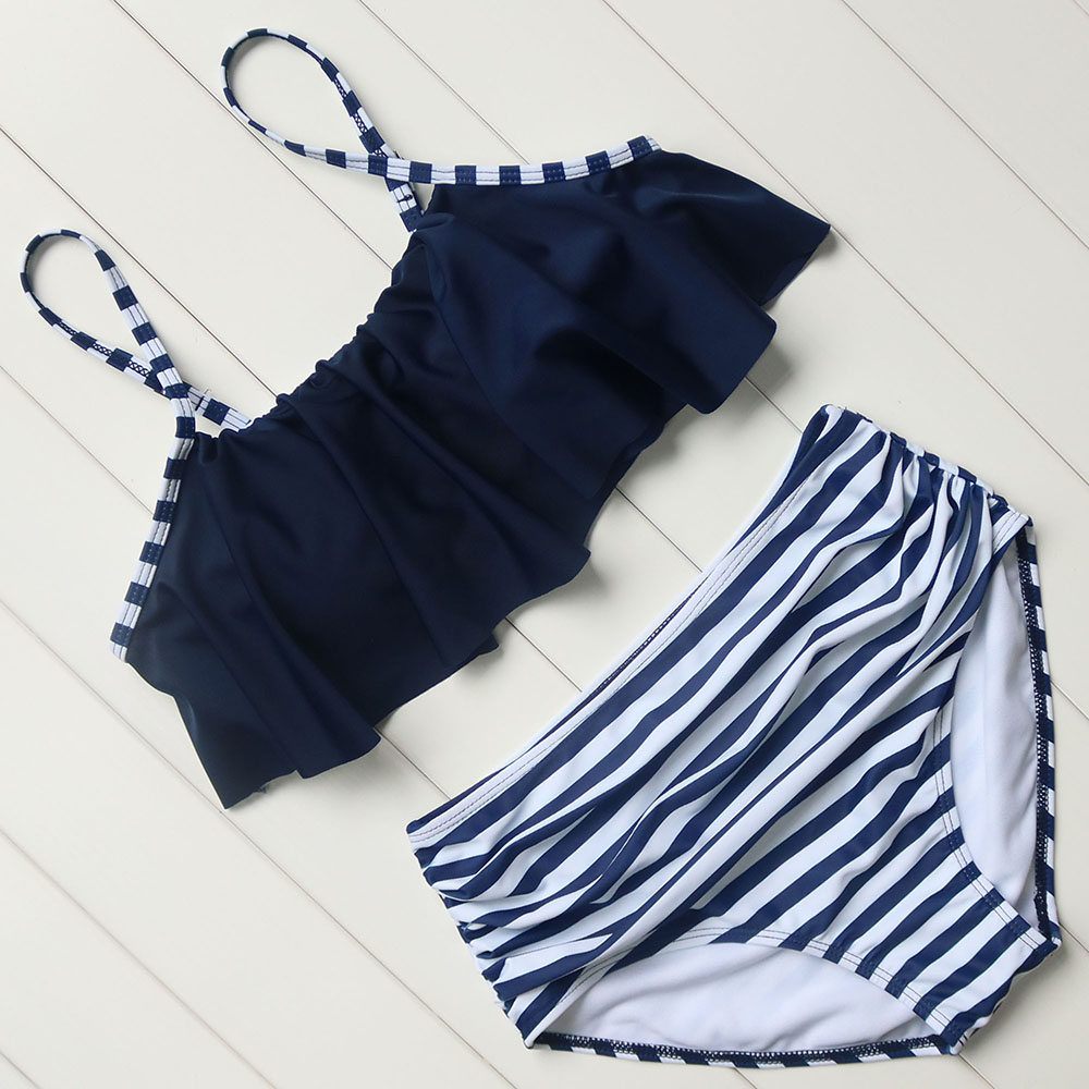Bikini Brand High Waist Swimsuit 2017 Sexy Bikinis Women Swimwear Ruffle Vintage Bandeau Striped Bottom Bikini