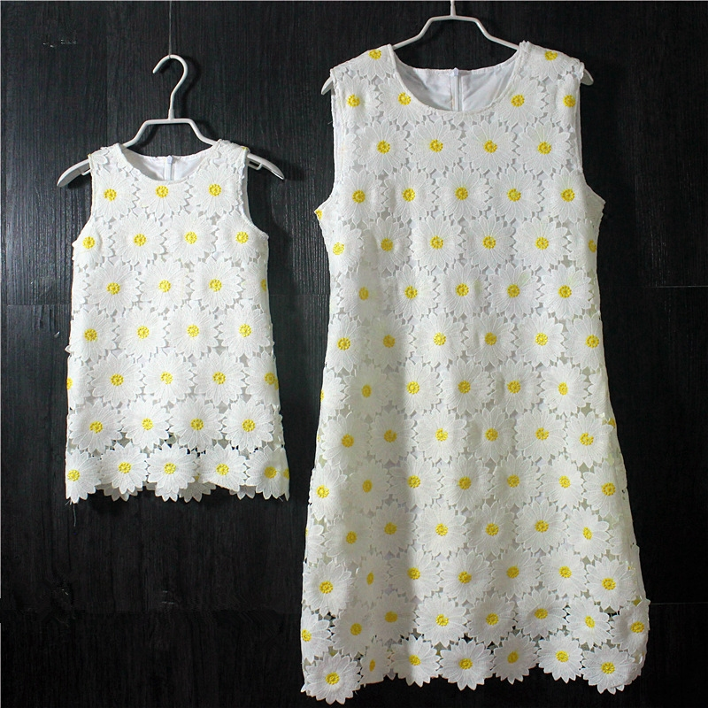 Brand Summer Sunflower lace plus large size mom girl princess one-piece mother and daughter skirts kids girls sleeveless dresses brand summer sunflower lace plus large size mom girl princess one piece mother and daughter skirts kids girls sleeveless dresses