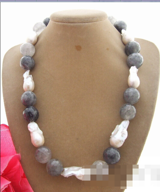 Belle excellente! 22 mm Bead - nucléées Pearl & nuageux Quartz collier