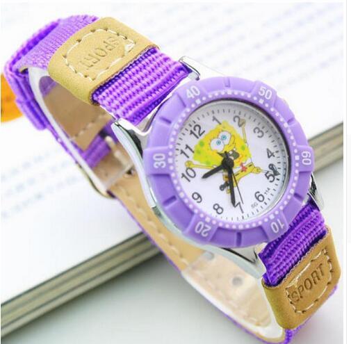 Clocks Cloth Spongebob Canvas Wrist-Watches Girls Sports Boys Kids Cartoon Children Casual