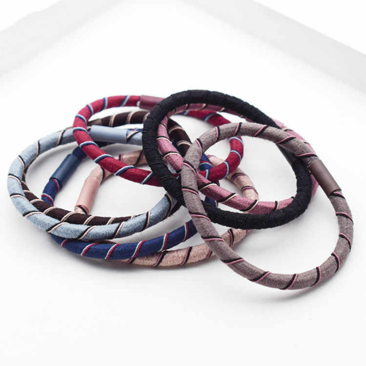 1PC/Lot Women Striped Colorful Basic Elastic Hair Bands Tie Gun For Hair Holder Headbands Rubebr Bands Lady Hair Accessories