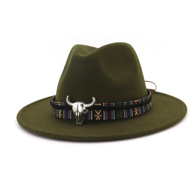 a4546566cc7 Detail Feedback Questions about Cowboy Style Leopard Leather Decorated Mens  Womens Fedora Hats Wool Felt Hat Trilby Flat Brim Jazz Cap Panama Formal  Top Hat ...