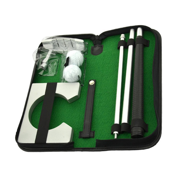 Portable Golf Putter Practicee Set Travel Indoor Golfs Ball Holder Putting Training Aids Tool With Carry Case Gifts ED-shipping