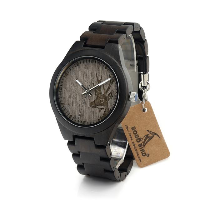 Bobo bird i26 mens exclusivo relógios mostrador da cabeça dos cervos de madeira de ébano Casual Relógios de Pulso de Quartzo Com Ligações de Madeira Em Caixa de Relógio de Presente