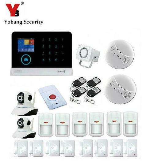 Yobang Security Wireless WiFi GSM Alarm System with PIR Motion/Smoke Sensor Detector IP Camera APP Control Alarm Mainframe Kits yobang security wifi gsm wireless pir home security sms alarm system glass break sensor smoke detector for home protection