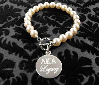 AKA letters Sorority pearl bracelet AKA Legacy charm bracelet 1